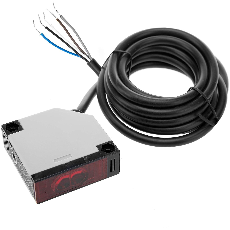 BeMatik - Sensor interruptor célula fotoeléctrica NO+NC 12-24VDC 250VAC autoreflexiva (TZ070)