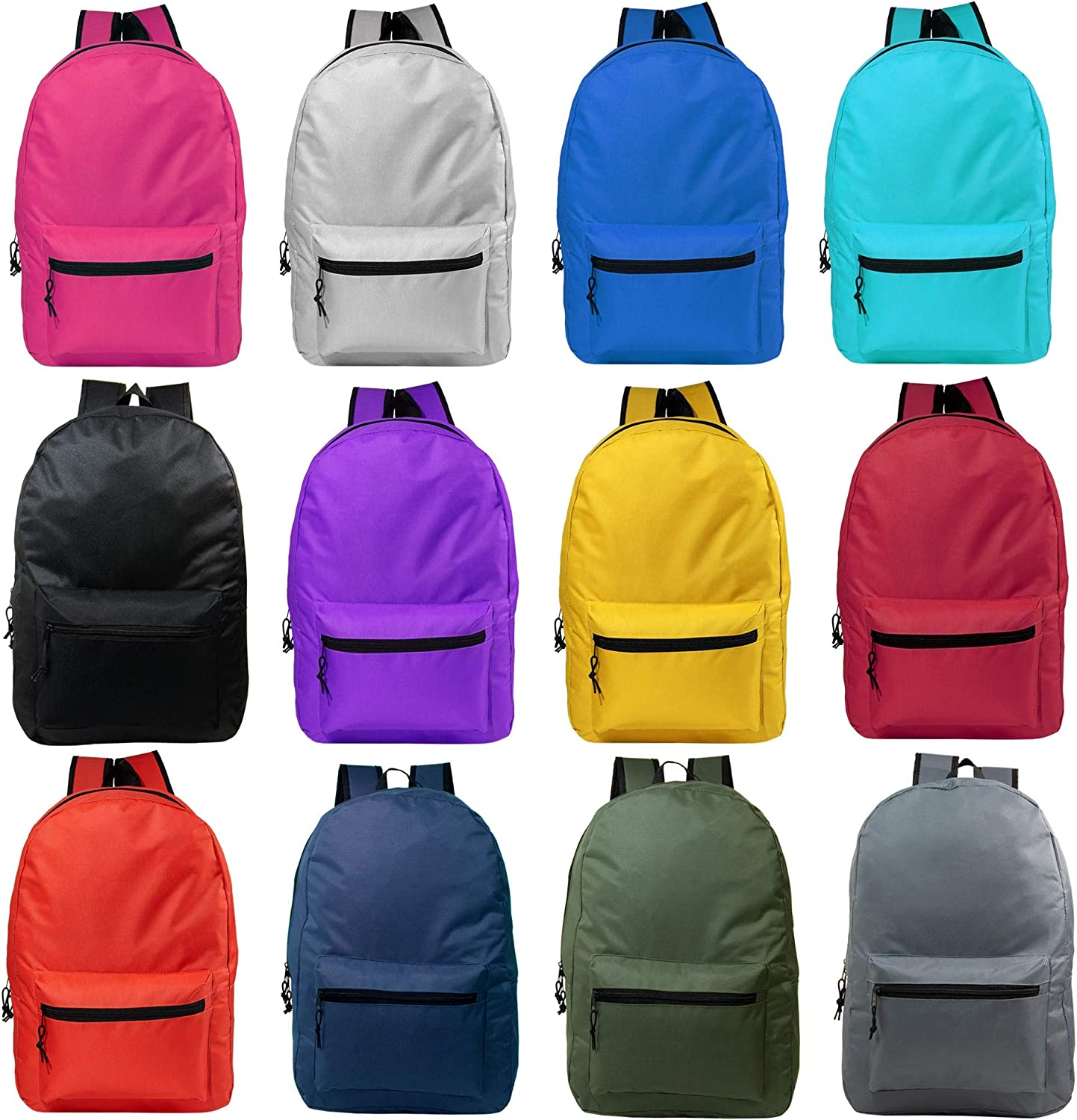 24 Pack - Classic 15 Inch Basic Wholesale Backpacks in Black or Assorted Colors - Bulk Case of Bookbags
