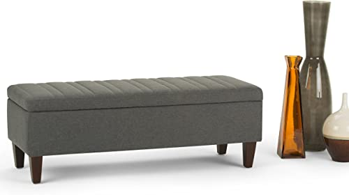 Simpli Home Monroe 48 inch Wide Rectangle Lift Top Storage Ottoman