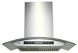 """EKON NAP03-30"""" Wall Mounted Stainless Steel & Curved Glass Kitchen Range Hood / 4 Speeds Touch Control With Remote And LCD Display / 2 Pcs 3W Led Lamp /900 CFM/Stainless Steel Baffle Filters"""