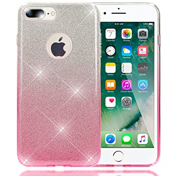NALIA Purpurina Funda Compatible con iPhone 8 Plus / 7 Plus, Carcasa Protectora Movil Silicona Ultra-Fina Glitter Gradiente Gel Bumper, Lentejuela ...