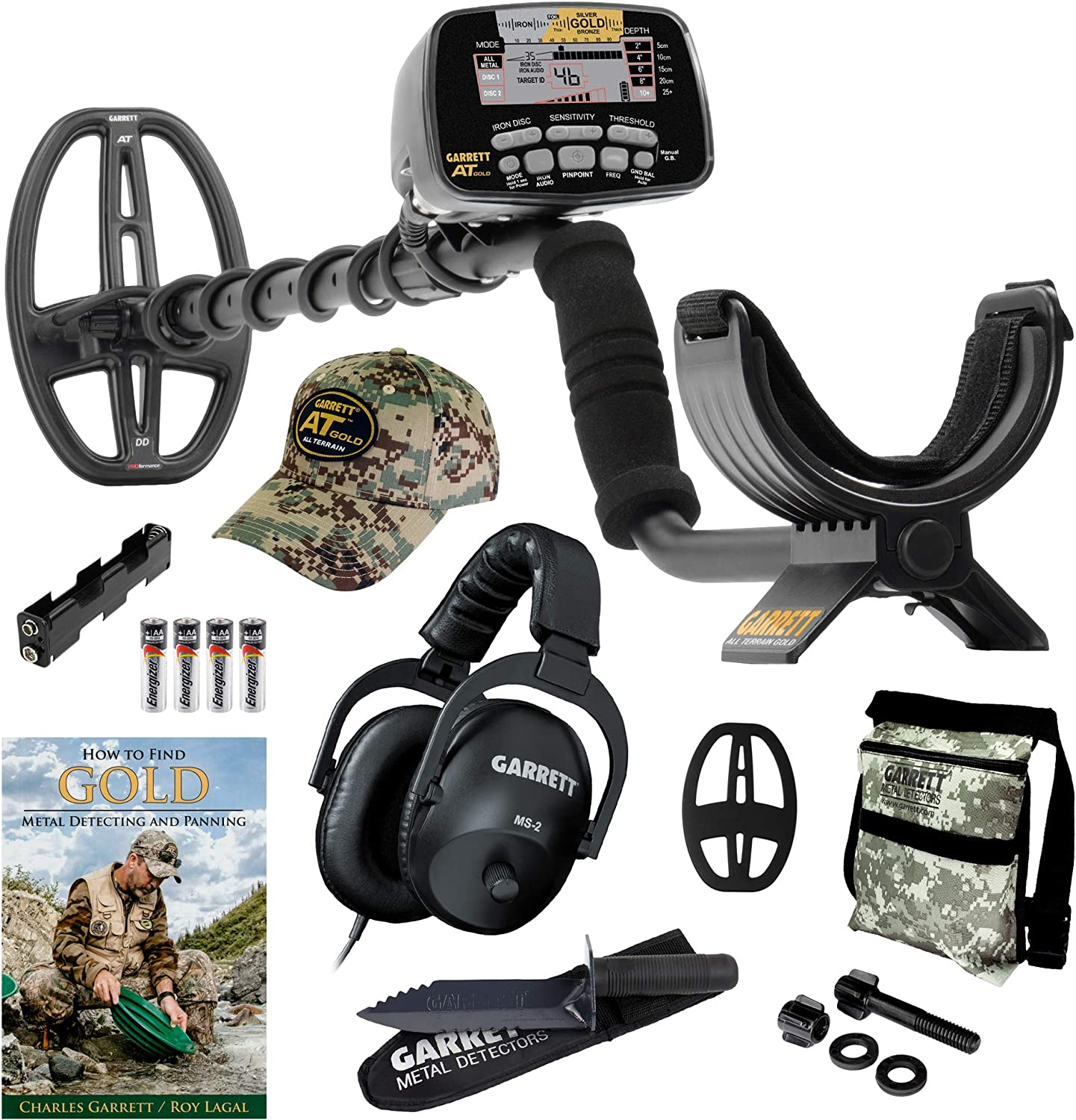 GARRETT AT GOLD METAL DETECTOR W EDGE DIGGER CAMO POUCH BOOK INSTRUCTION DVD by MDS-ATGOLD-DIGGER-CAMO