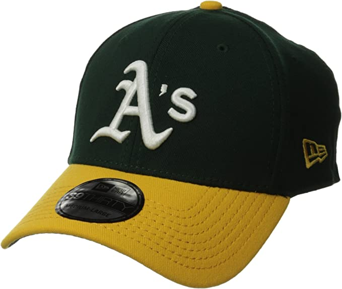 "Cap Green-Yellow New Era 39Thirty Oakland Athletics HOME /""Team Classic/"" Hat"