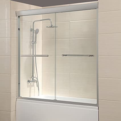 Amazing Mecor 60W X 57 4H Framed Bathtub Sliding Shower Door 1 4 Clear Glass With 2 Towel Bars Finish Download Free Architecture Designs Scobabritishbridgeorg