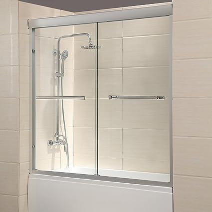 Bathroom Sliding Glass Shower Doors.Mecor 60 W X 57 4 H Framed Bathtub Sliding Shower Door 1 4 Clear Glass With 2 Towel Bars Finish