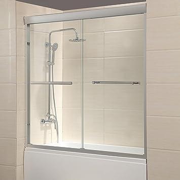 Mecor 60w X 574h Framed Bathtub Sliding Shower Door 14 Clear