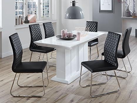 Tavolo Bianco E Nero.Tavolo Da Pranzo Bianco Lucido Nero Modern Design Lisa Sedie