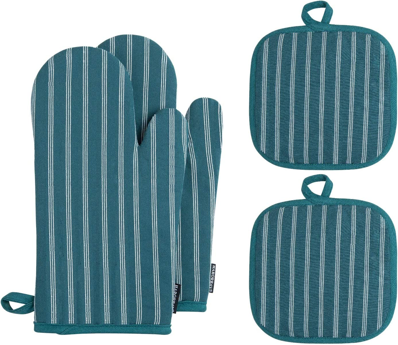 HARORBAY Cotton Oven Mitts and Pot Holders, Heat Resistant Kitchen Oven Gloves, Non-Slip Washable Hot Pads for Baking Cooking (Set of 4, Blue)