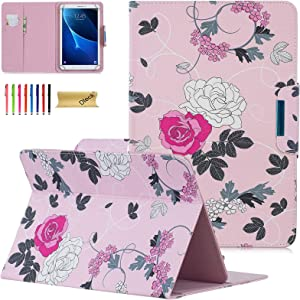 Dteck Universal Case for 7.5-8.5 Inch Tablet - Slim Light Pretty Folio Pocket Stand Case Cover for iPad Mini 7.9 Inch 2019/Samsung/Kindle/Huawei/Lenovo/Nook/Android 8.0 8.4 Inch-Pink Flower