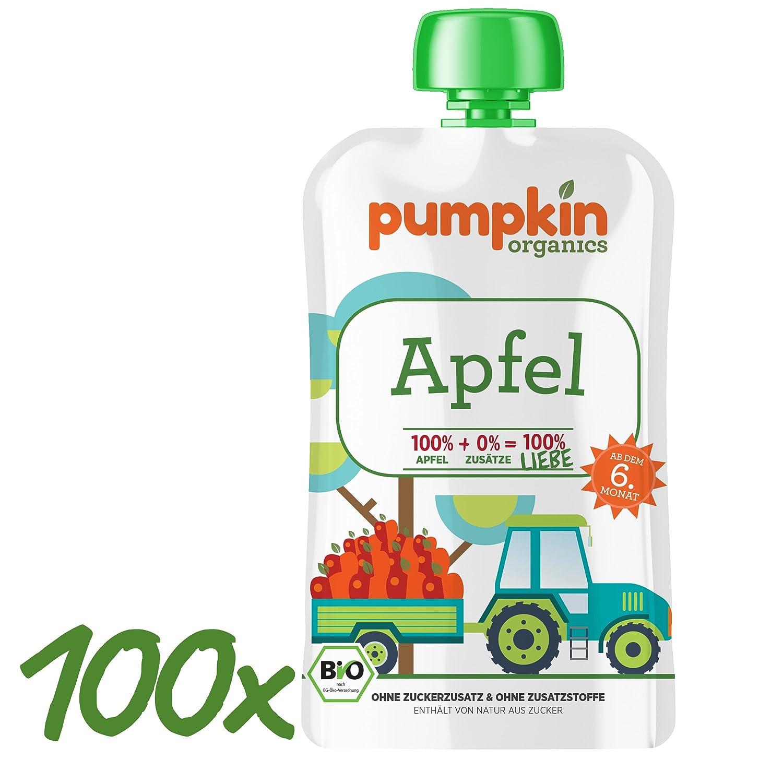 Pumpkin Organics Liebe Quetschies leckeres bio Apfelpüree im Quetschbeutel ab dem 6. Monat (Apple Love - 100 units