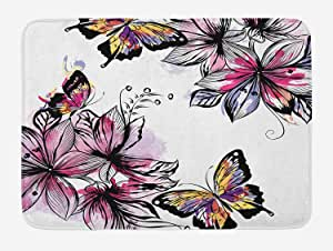MLNHY Floral Bath Mat, Flower Blooms Botany Bouquets with