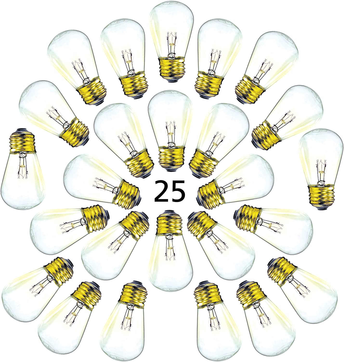 Replacement Bulbs S14 Commercial Grade String Light - 25 Pack - 1.5 Inch Candelabra Screw Base fits E27 and E26 Sockets
