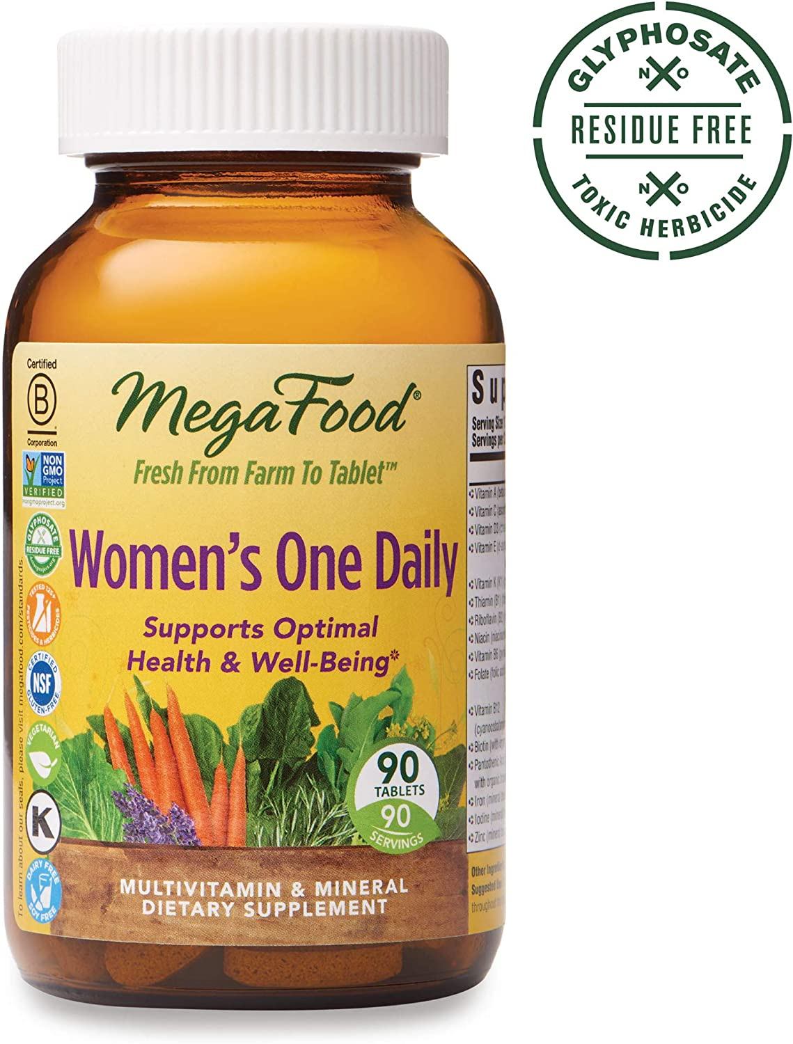 MegaFood, Women s One Daily, Daily Multivitamin and Mineral Dietary Supplement with Vitamins C, D, Folate and Iron, Non-GMO, Vegetarian, 90 Tablets 90 Servings FFP