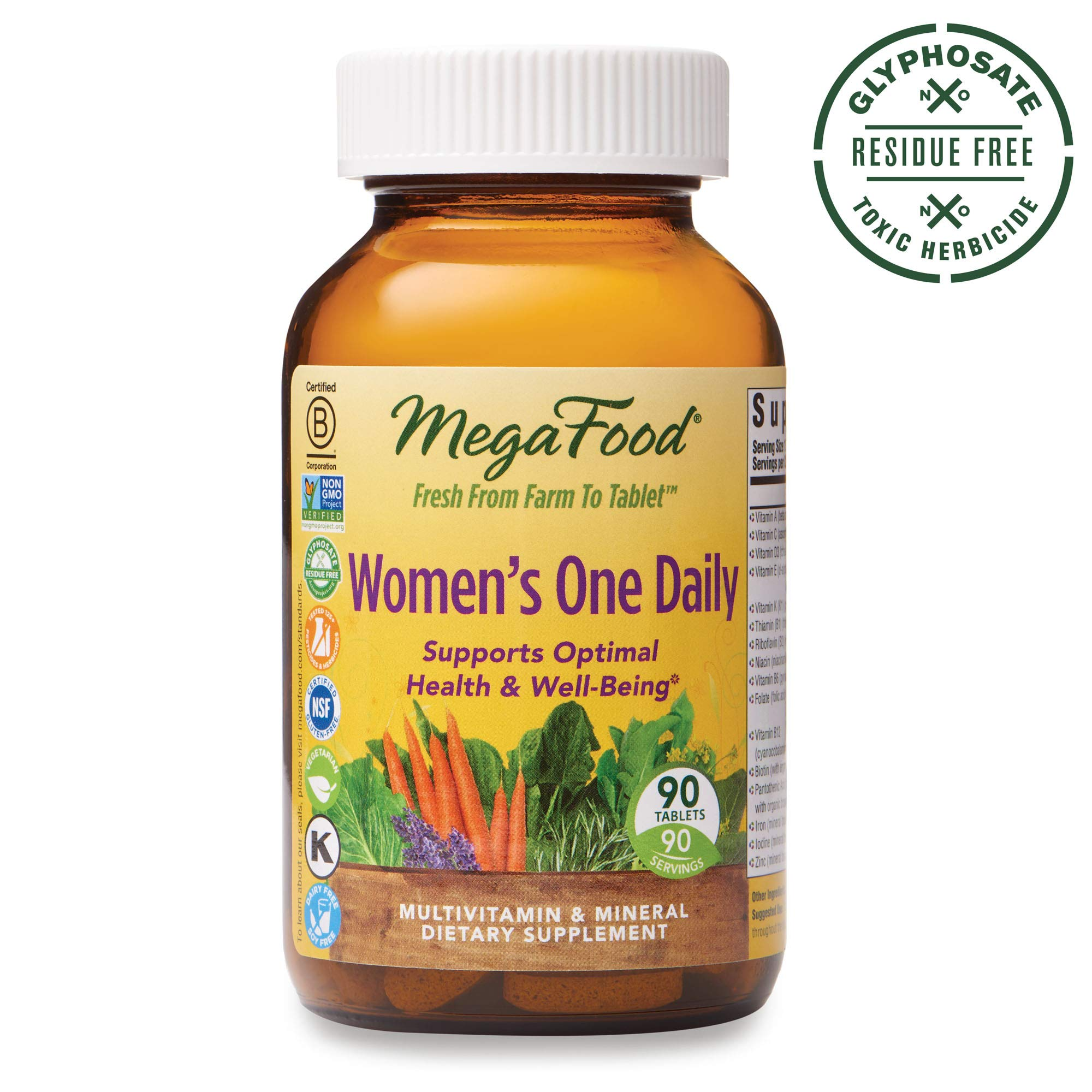 MegaFood, Women's One Daily, Daily Multivitamin and Mineral Dietary Supplement with Vitamins C, D, Folate and Iron, Non-GMO, Vegetarian, 90 Tablets (90 Servings) (FFP) by MegaFood