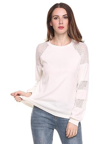 Meaneor Mujer Camiseta Manga Larga Blusa Encaje Floral Camisa Casual Elegante