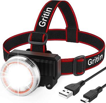 Linterna Frontal LED Recargable, Gritin Linterna Frontal ...