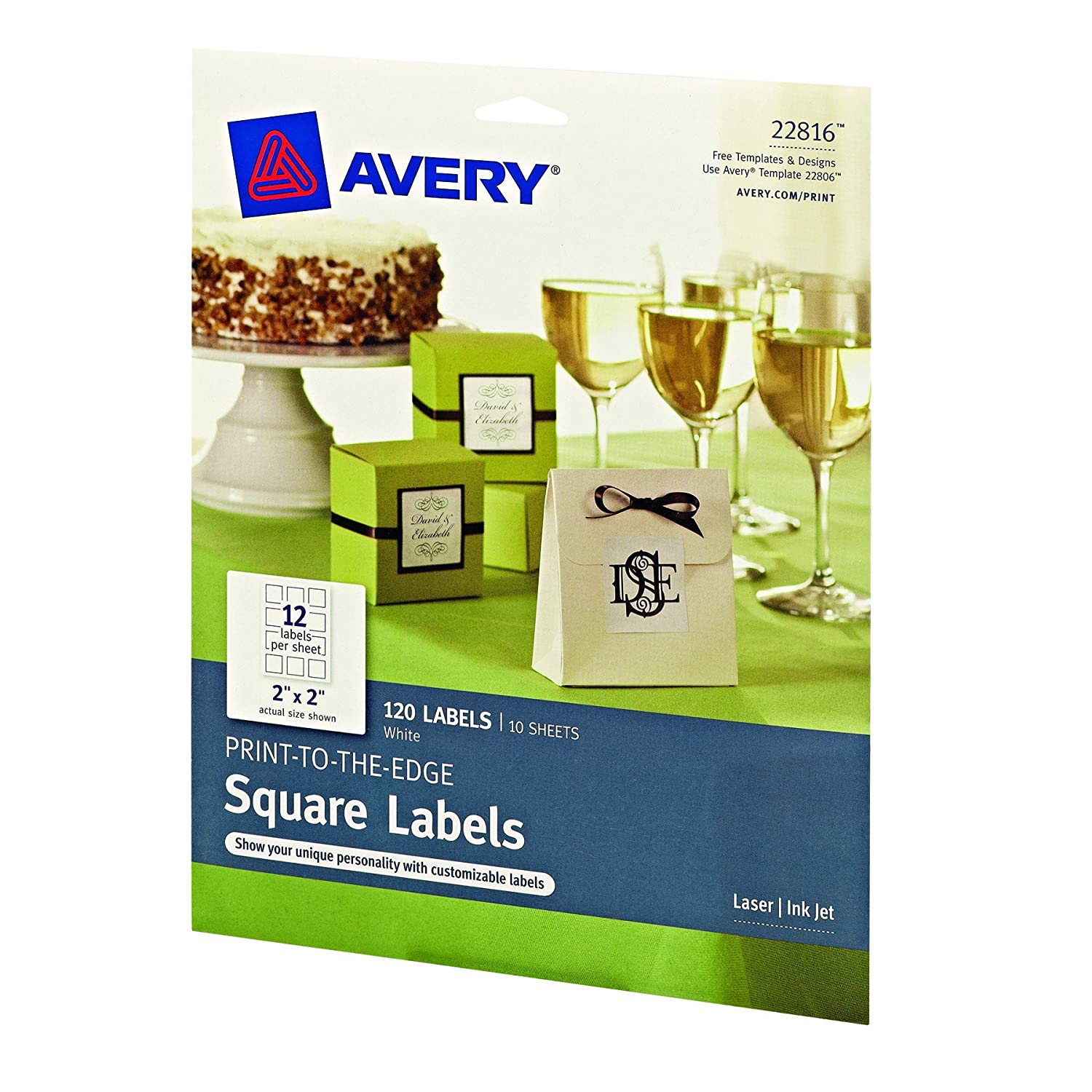 amazoncom avery print to the edge square labels 2 x 2 inches pack of 120 22816 all purpose labels office products