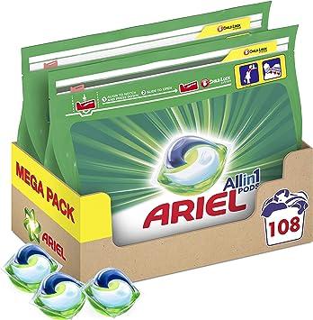 Ariel Pods Detergente Lavadora Cápsulas, 108 Lavados (Pack de 2 x 54), Original