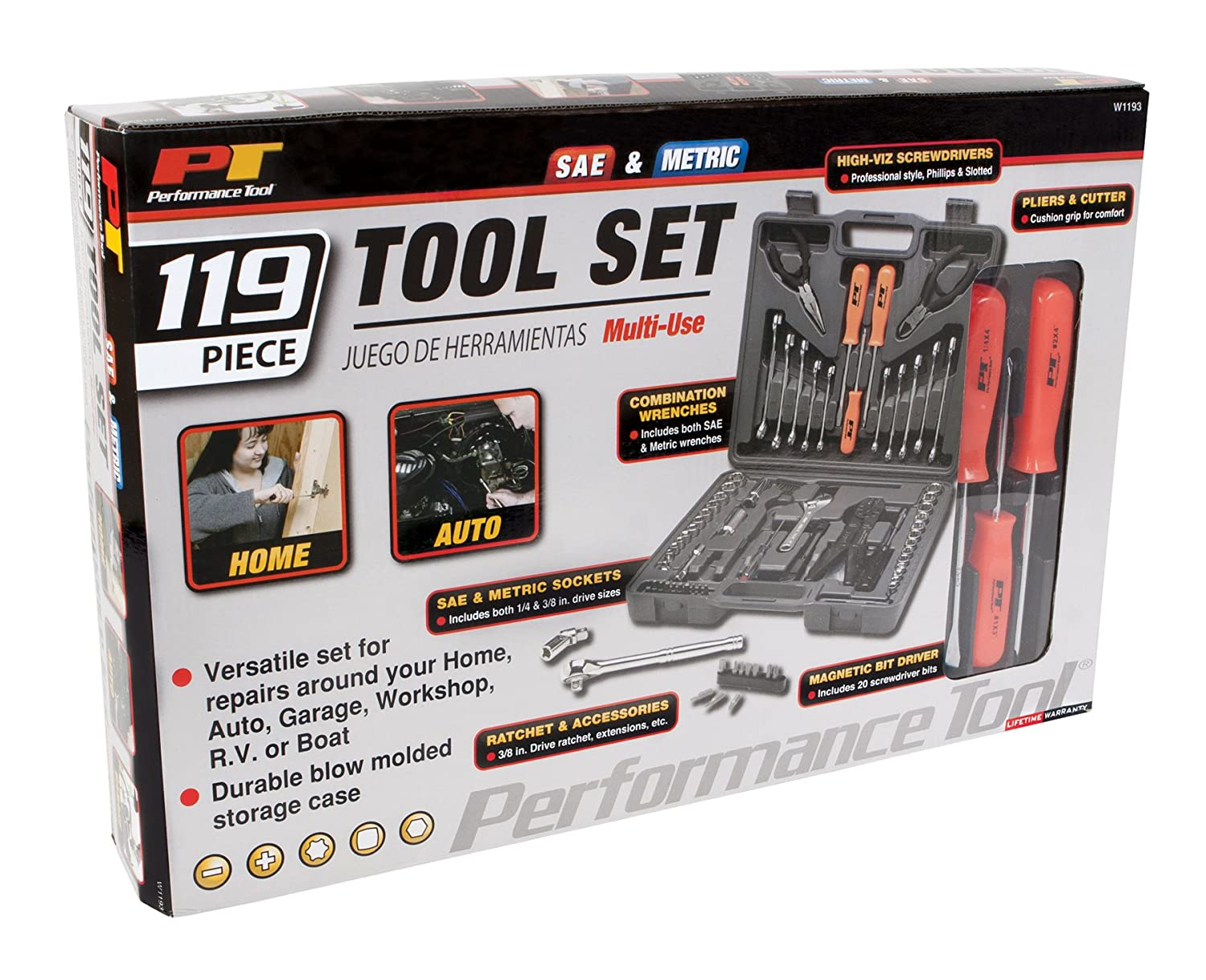 Performance Tool W1197 38 Piece Compact Tool Set with Zipper Case