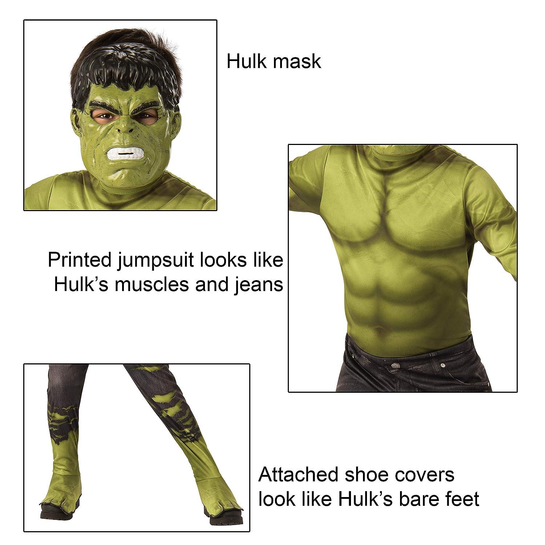 Rubies - Disfraz Oficial de Los Vengadores Endgame Hulk, clásico, para niños, tamaño Grande, 8 a 10 años, Altura 147 cm