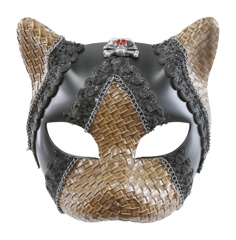 KAYSO INC Cat Warrior Pirate Skull Woven Masquerade Mask (Black)