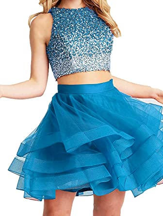a742d2c1e43 LOVING HOUSE Sparkly Beaded Bodice Homecoming Dresses Open Back 2018 Short  Two Piece Prom Ball Gown P004 Blue 2 at Amazon Women s Clothing store