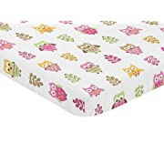 Sweet JoJo Designs Pink and White Baby Fitted Mini Portable Crib Sheet for Happy Owl Collection