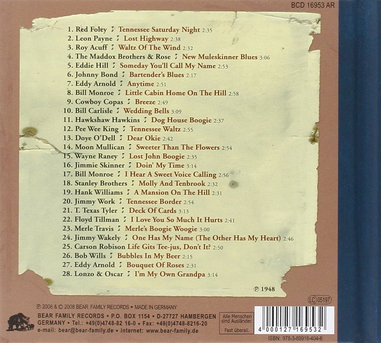 Dim Lights, Thick Smoke & Hillbilly Music: Country & Western Hit Parade 1948 by Bear Family Germany