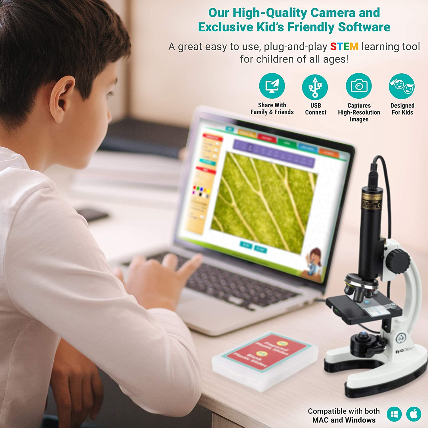 IQCREW by AmScope Kids Premium 85 Piece Microscope Color Camera and Interactive Kids Software Kit with World of Microscope Book