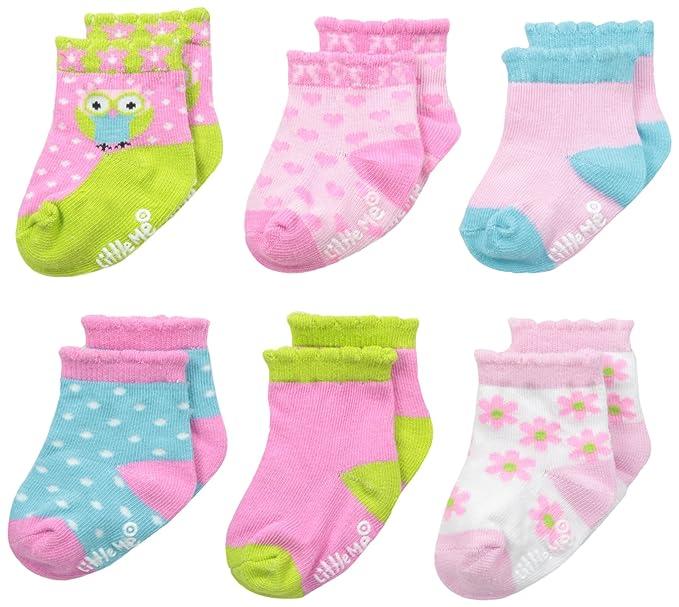 Amazon Com Little Me Baby Girl Socks 6 Pack Clothing