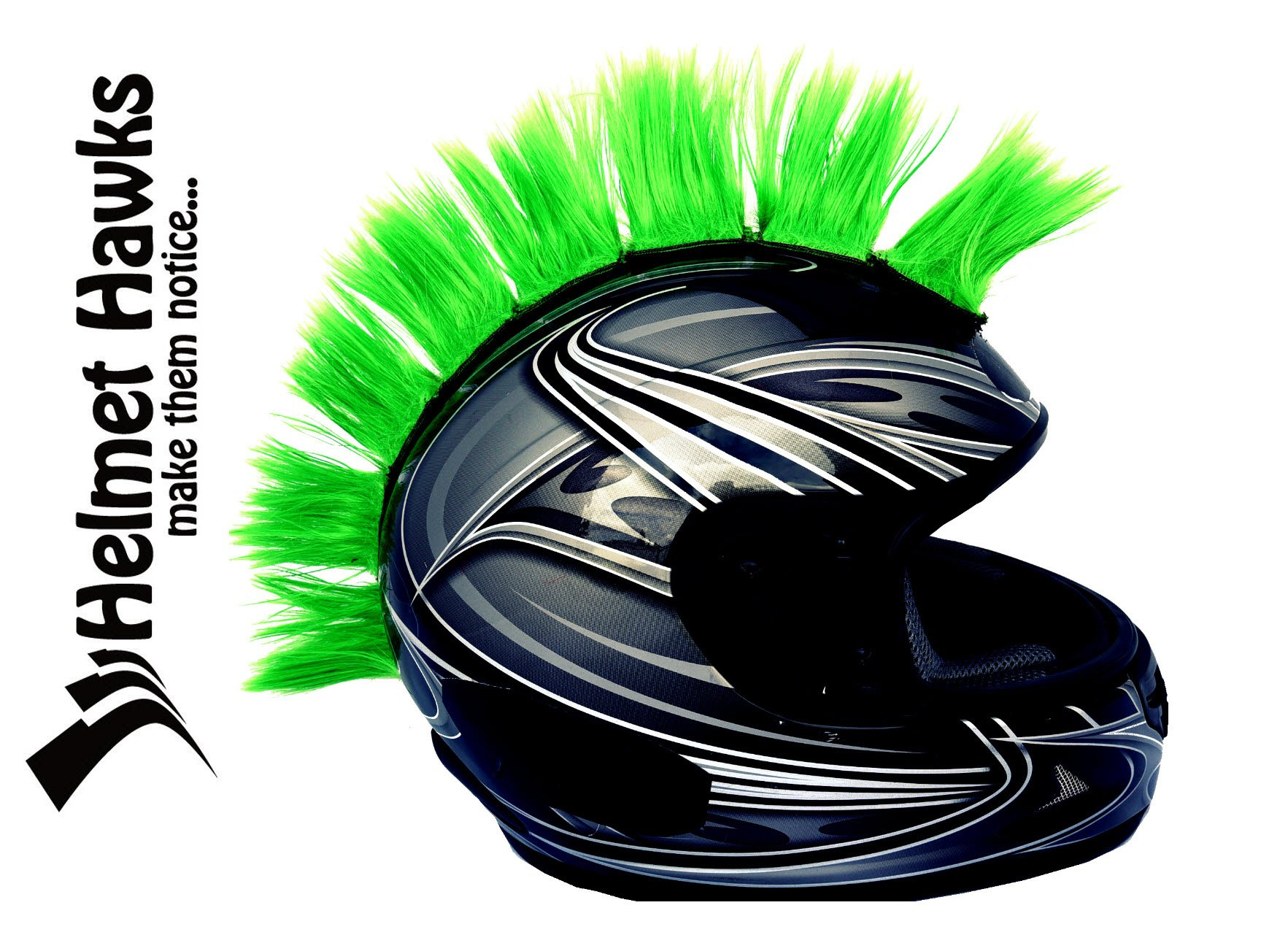 Helmet Hawks Motorcycle, Snowboard Helmet Mohawk w/ Sticky Velcro Adhesive (8) Hair Patches 2'' long x 3'' Tall - Fluorescent Lime Green