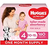Huggies Ultra Dry Nappies, Girls, Size 4 Toddler (10-15kg), 160 Count, One Month Supply, (Packaging May Vary)