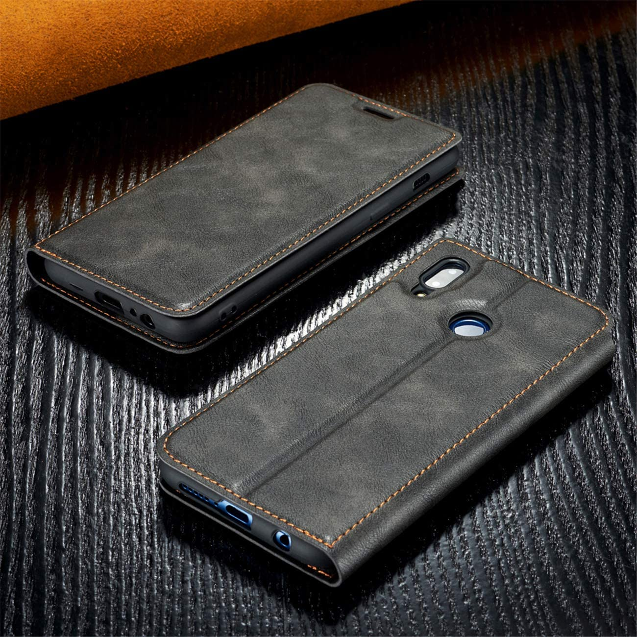 Red DESCHE Compatible for Huawei P Smart 2019 Case Flip Wallet Cover Leather soft TPU Silicon Magnetic Closure Cover with Card Slot
