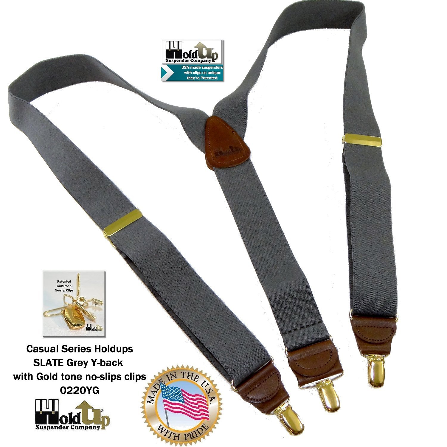 Holdup Suspender Company Slate Grey Men's Y-back Clip-on Suspenders in 1 1/2'' width featuring Patented No-slip Gold-Tone Clips by Hold-Up Suspender Co. (Image #3)