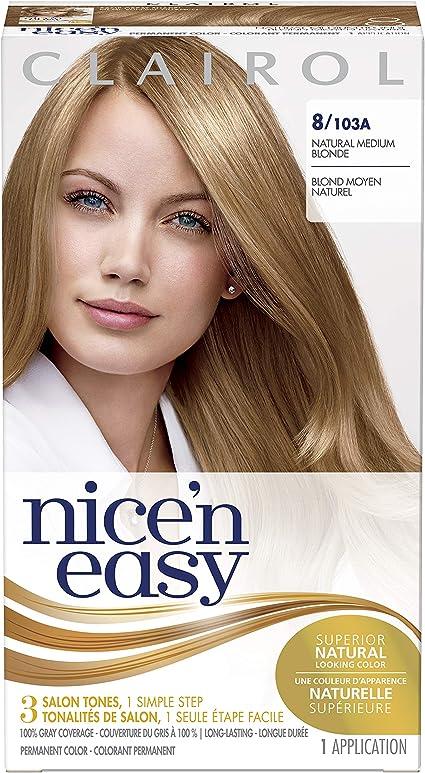 Clairol Nicen Easy Liquid, tinte permanente de aspecto natural, 8 rubio medio natural (original)