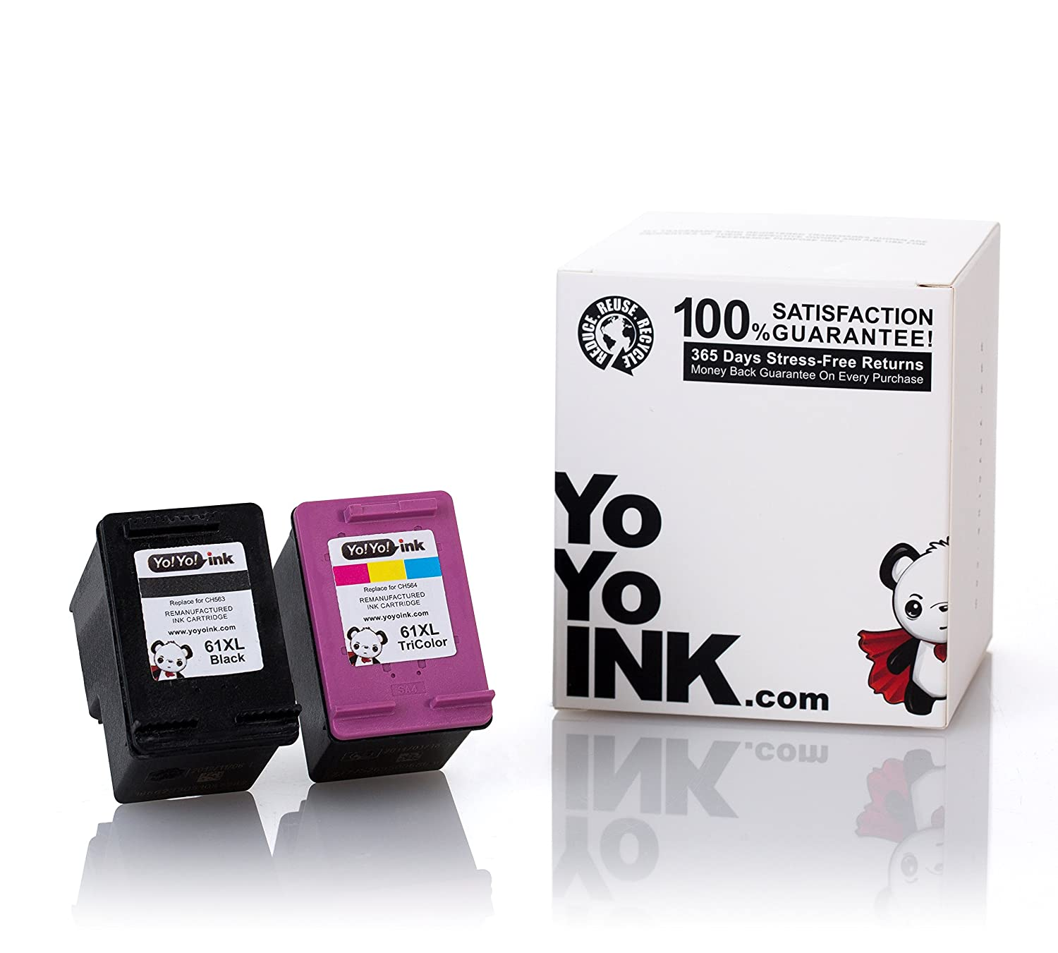 YoYoInk Remanufactured Ink Cartridge Replacement for HP 61 XL 61XL (1 Black, 1 Color) for HP Deskjet 2540 Envy 4500 OfficeJet 4500 4630
