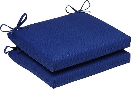 Pillow Perfect Outdoor Indoor Veranda Cobalt Square Corner Seat Cushions, 18.5 x 16 , Blue, 2 Pack