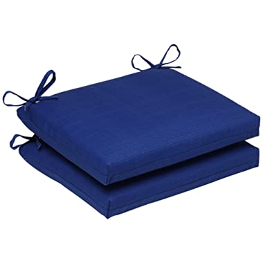 Pillow Perfect Outdoor/Indoor Squared Seat Cushion, 18.5 in. x 16 in, Fresco Blue, Set of 2