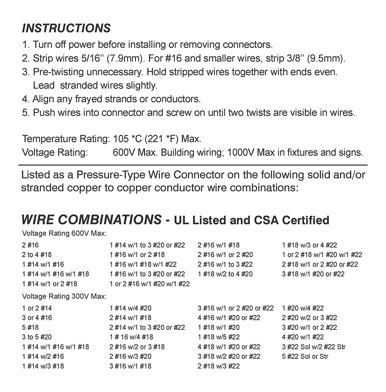 100 PCS Orange Wire Connector, P3 Type Easy Twist-On Ribbed Cap - UL ...