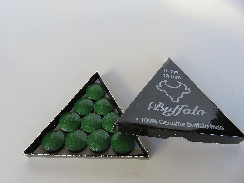 Wonders Shop USA New Billiards Cue Tips 100% Genuine Buffalo Hide EXCLUSIVE BUFFALO BRAND - 13 mm SOFT Rating - 10 Pieces Per BOX - colour GREEN   B00BG0FUIU