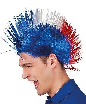 Boland 62024 - adultos peluca Punk Francia, un tamaño, color azul/blanco / rojo: Amazon.es: Juguetes y juegos