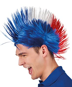 Boland 62024 - adultos peluca Punk Francia, un tamaño, color azul/blanco /