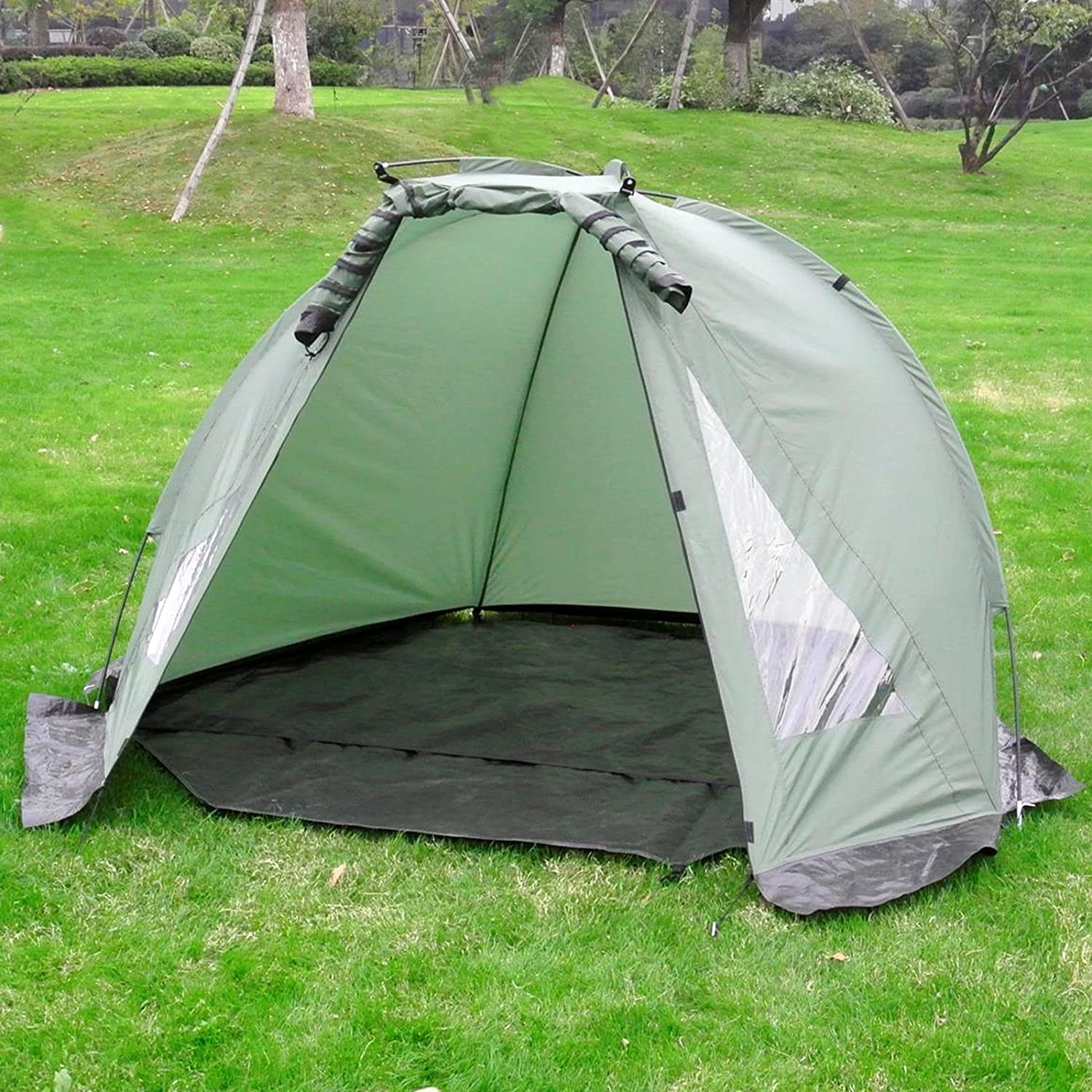 Carp Fishing Bivvy Tent Shelter | 1-2 Man Quick Erect Lightweight Waterproof Day Shelter | Includes Groundsheet & Carry Bag | M&W Active Leisure
