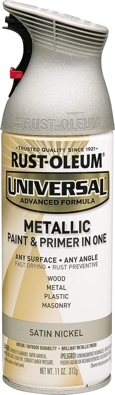 RUST-OLEUM 249130 Universal All Surface Spray Paint, 11 oz, Metallic Satin Nickel