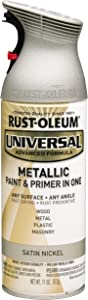 RUST-OLEUM 249130 Universal All Surface Spray Paint, 11 oz, Metallic Satin Nickel