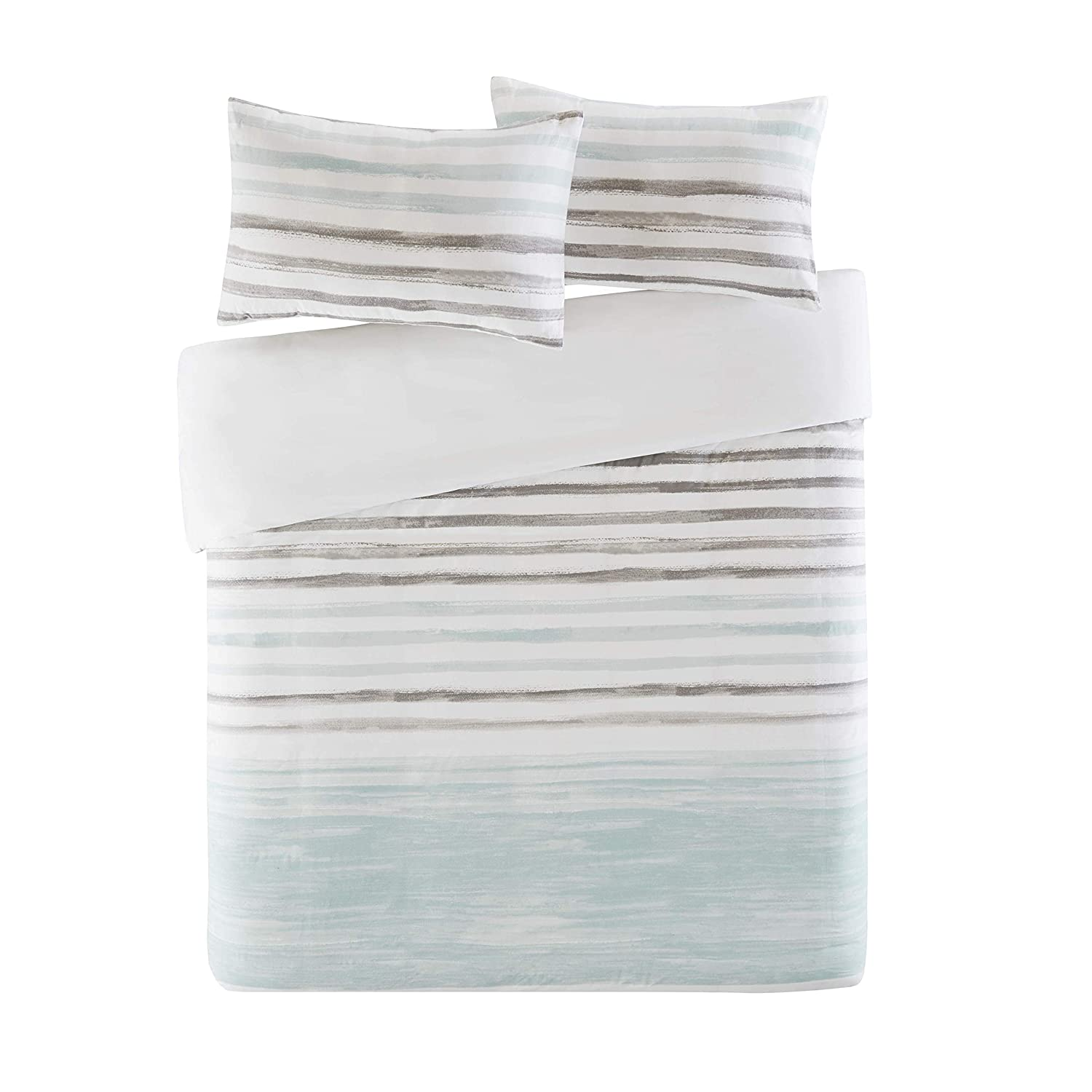SCM Marina Duvet Cover and Pillowcase Set, Modern Take on the Coastal Stripe, Watercolor Motif, Luxury Trendy Quilt Bedding Set, Multi-Blue (Double)