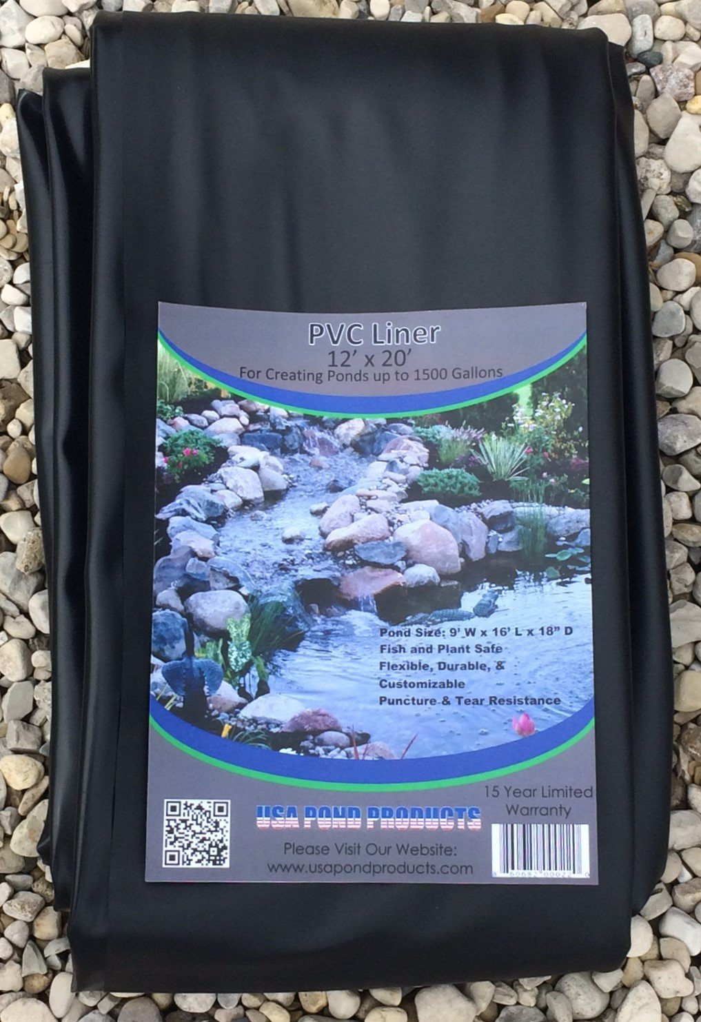 Pond Liner - 12' x 20' Black for Koi Ponds and Water Gardens