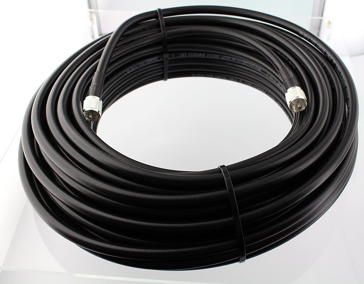UHF VHF HF RF Antenna Cable Ham RG-213 PL-259 N Male  Ultra Low Loss Coax 75 ft