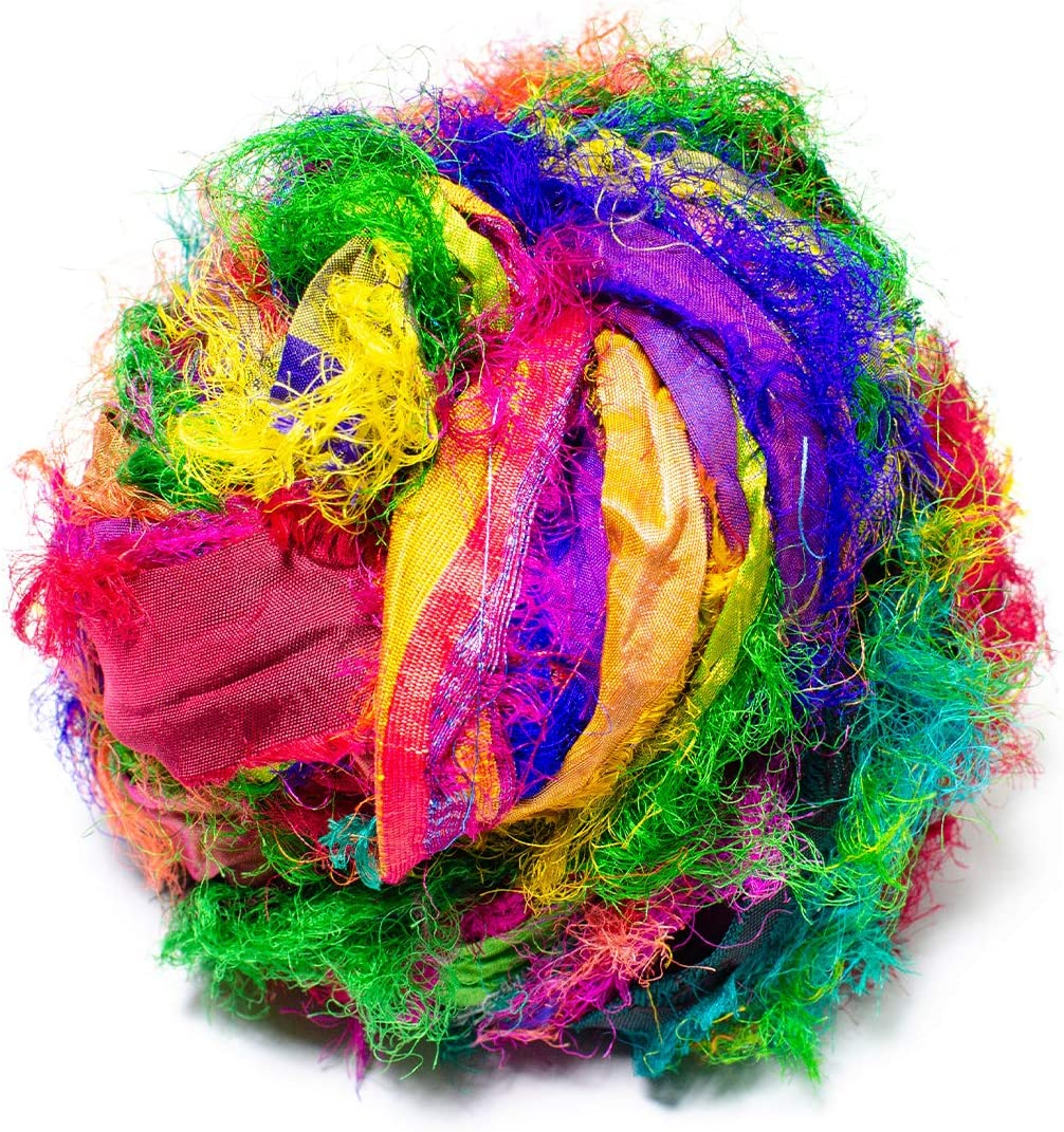 10 yards Clean Recycled Sari Silk Ribbon Yarn Off White Chiffon Silk