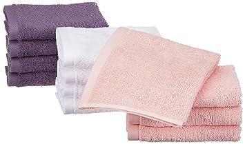 AmazonBasics - Toallas de algodón, 12 unidades, Rosa pétalo, Lavanda, Blanco